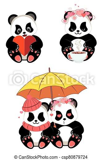 Cartoon panda with heart - csp80879724