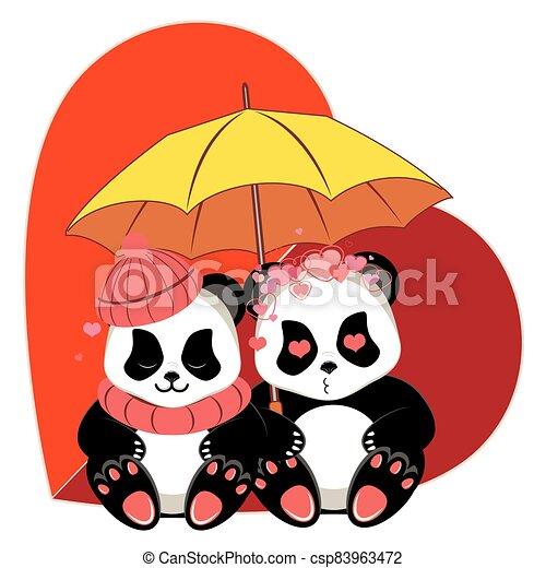 Cartoon panda with heart - csp83963472
