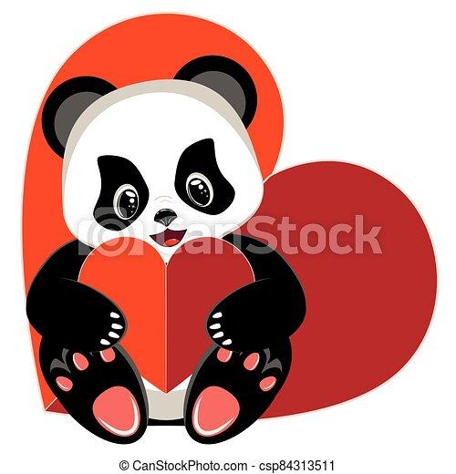 Cartoon panda with heart - csp84313511