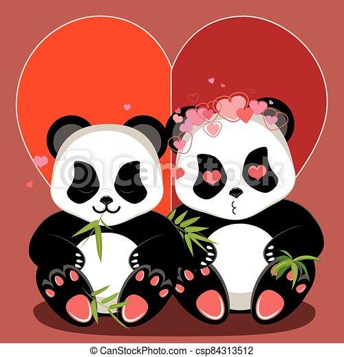 Cartoon panda with heart - csp84313512