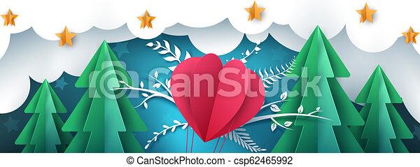 Cartoon paper landscape. Air balloon, fir, winter. - csp62465992
