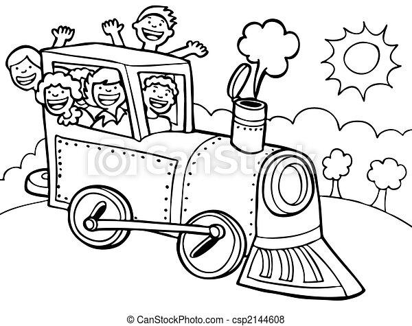 Cartoon Park Train Ride Line Art - csp2144608