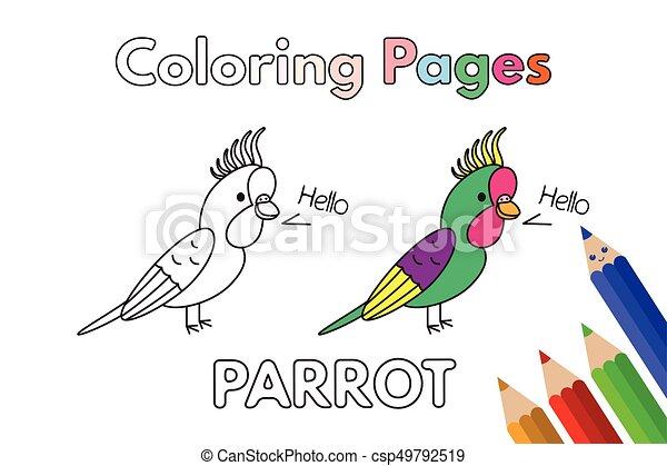Cartoon Parrot Coloring Book - csp49792519