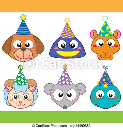 cartoon party animal icons collection - csp14499683