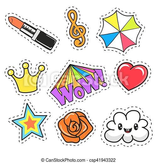 Cartoon patch badges - csp41943322
