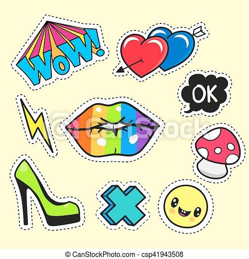 cartoon patch badges - csp41943508