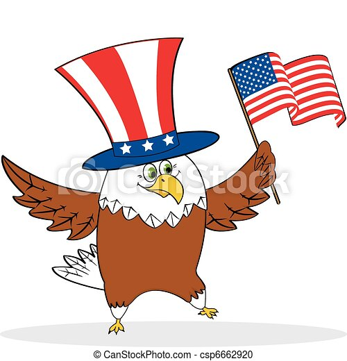 cartoon patriotic eagle holding american flag vector illustration rh canstockphoto com
