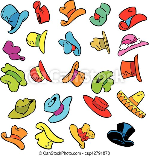 cartoon pattern with hats - csp42791878