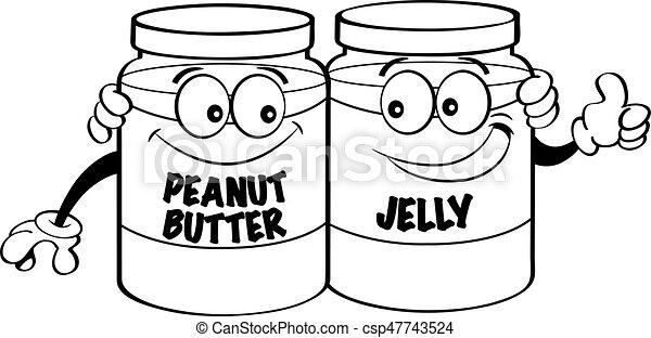 cartoon peanut butter and jelly jars black and white illustration of peanut butter and jelly jars https www canstockphoto com cartoon peanut butter and jelly jars 47743524 html