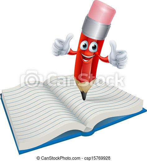 Cartoon Pencil Man Writing in Book - csp15769928