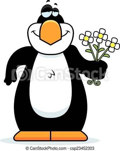 cartoon penguin flowers a cartoon illustration of a penguin with