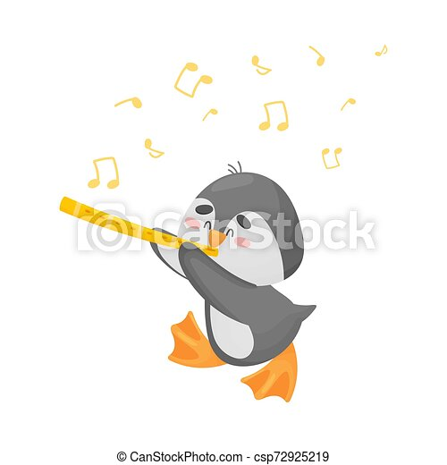 Cartoon penguin with flute. Vector illustration on a white background. - csp72925219