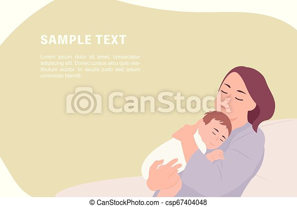 Cartoon People Character Design Banner Template Young Mother Holding Sleeping Baby Ideal For Both Print And Web Design
