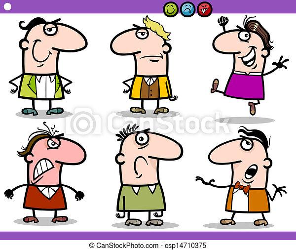 cartoon people emotions characters set - csp14710375