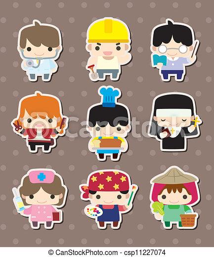 cartoon people job stickers - csp11227074