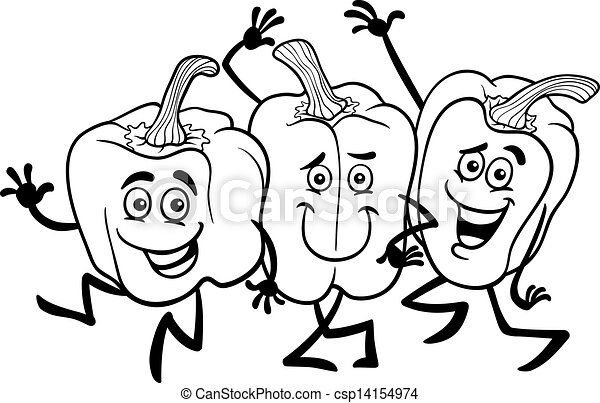 cartoon peppers vegetables for coloring book - csp14154974