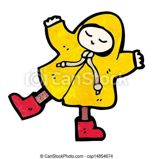 cartoon person in raincoat