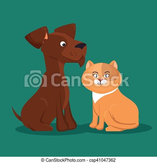 cartoon pets cat dog icon - csp41047362