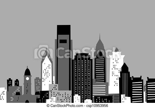 Cartoon philadelphia. Cartoon skyline of the city of ...