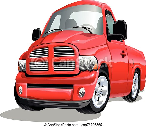 Cartoon pickup truck isolated on white background. Vector illustration. - csp76796865