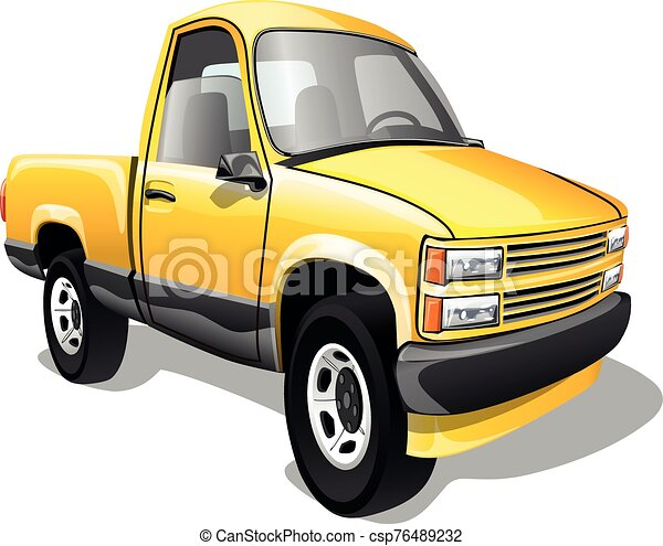 Cartoon pickup truck isolated on white background. Vector illustration. - csp76489232