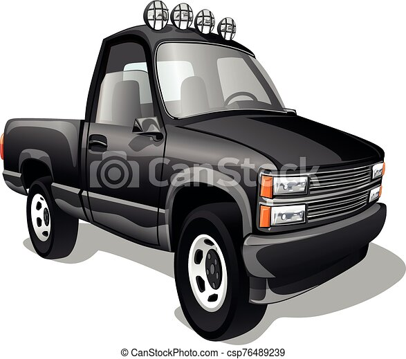 Cartoon pickup truck isolated on white background. Vector illustration. - csp76489239