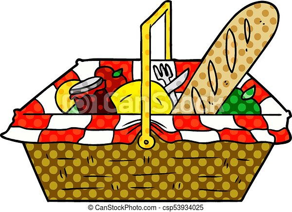 cartoon picnic basket rh canstockphoto com picnic basket clip art free picnic basket clipart black and white