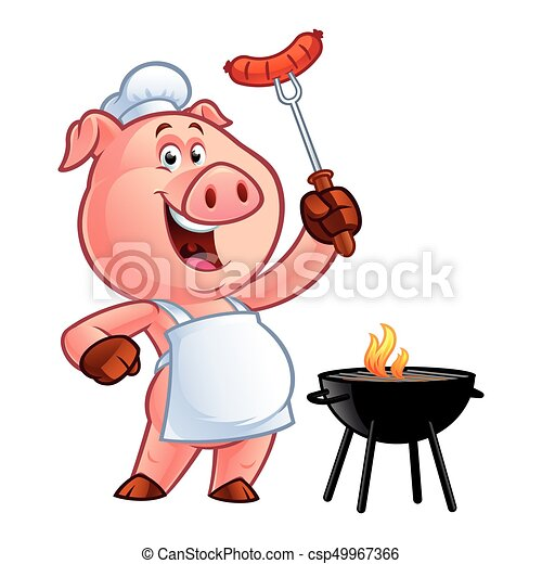 cartoon pig chef pig chef holding a sausage on fork grill clip art image grill clip art png