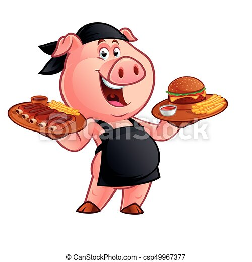 cartoon pig chef - csp49967377