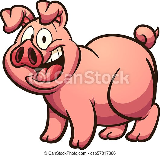 Vector Art - Cute pig cartoon posing. Clipart Drawing gg85388448 - GoGraph