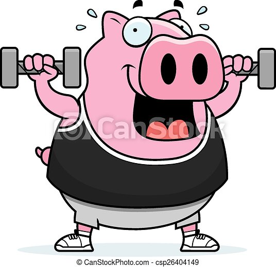Cartoon Pig Dumbbells - csp26404149
