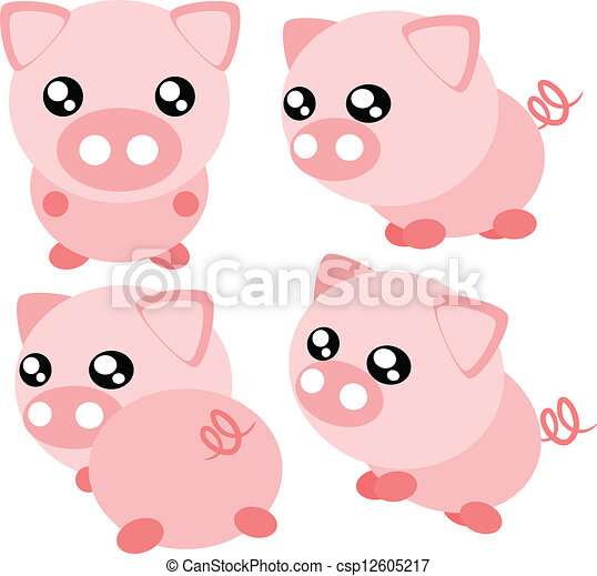 Cartoon pig illustration - csp12605217