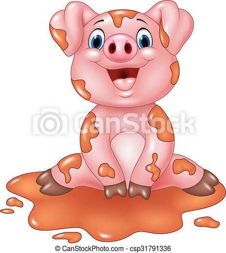 Cartoon pig play in a mud puddle - csp31791336