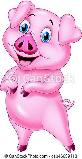 Cartoon pig posing isolated on white background - csp46639113
