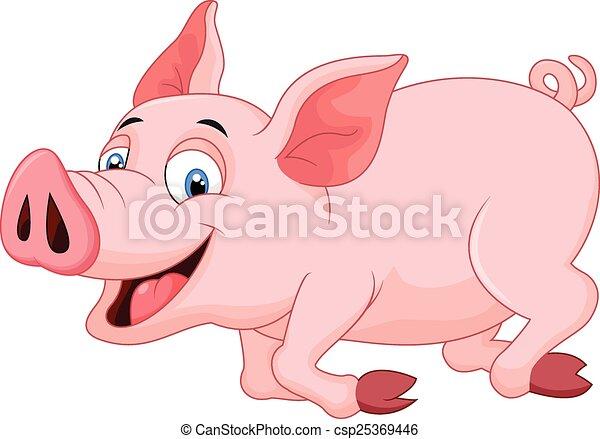 Cartoon pig running  - csp25369446
