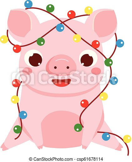 Cartoon Pig Symbol Of Chinese 2019 New Year Cute Pig With Christmas Lights Garland