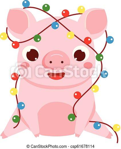 Christmas Lights Cartoon.Cartoon Pig Symbol Of Chinese 2019 New Year Cute Pig With Christmas Lights Garland