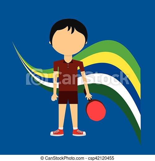cartoon ping-pong player brazilian label - csp42120455