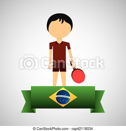 cartoon ping-pong player brazilian label - csp42118034