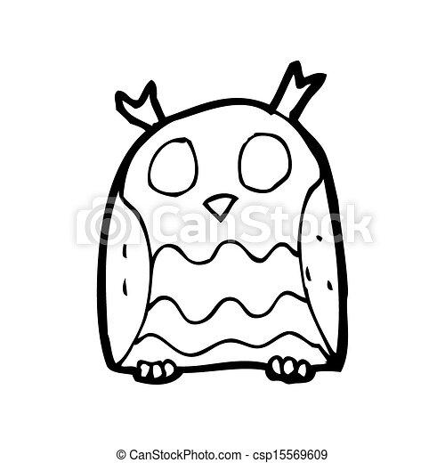 cartoon pink owl - csp15569609