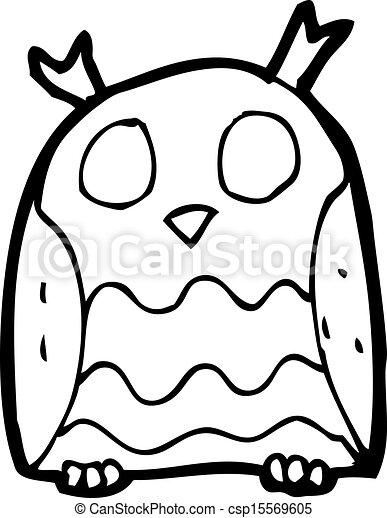 cartoon pink owl - csp15569605