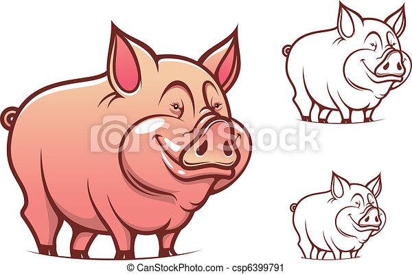 Cartoon pink pig - csp6399791