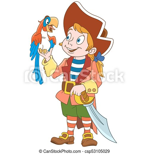 Cartoon pirate and parrot - csp53105029