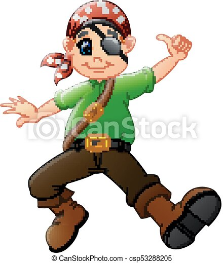 Cartoon pirate giving thumb up - csp53288205