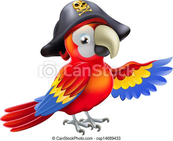 Cartoon pirate parrot - csp14689433