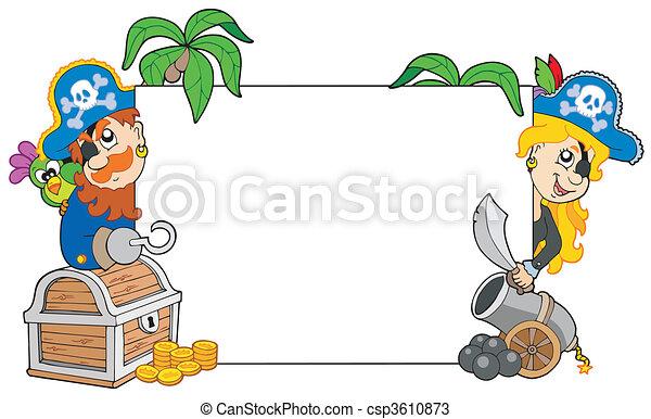 Cartoon pirates holding blank board - csp3610873