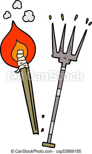 cartoon pitchfork and burning brand vector search clip art rh canstockphoto ie farmer pitchfork clipart