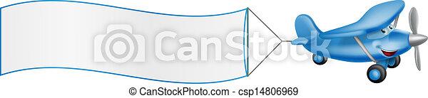 Cartoon plane mascot towing banner - csp14806969