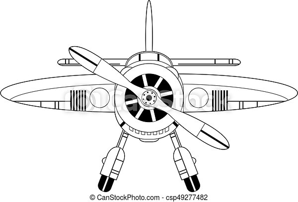 Cartoon Plane Outline Cute Cartoon Retro Style Plane With