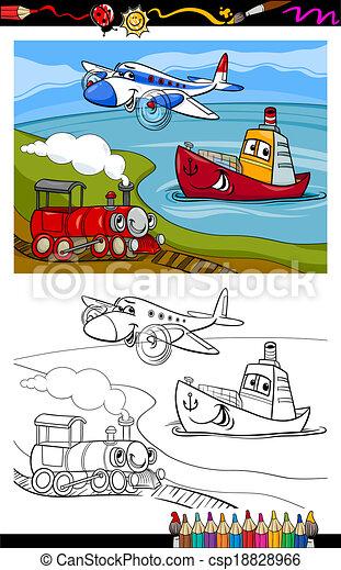 cartoon plane train ship coloring page - csp18828966